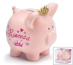 Millennium Treasures Gifts - Royal Savings Baby Girl Princess Piggy Bank with Tiara, 1st Birthday Princess, Baby Girl Princess, Pink Princess, Baby Piggy Banks, Pink Piggy Bank, Pig Bank, Princess Gifts, Paper Mache Clay, Gold Tiara