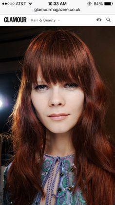 Red hair inspiration: rich copper locks with bangs 2015 Hairstyles, Hairstyles With Bangs, Cool Hairstyles, Hairdos, Updos, Dark Red Hair, Red Hair Color, Emilio Pucci, Hair Colours 2014