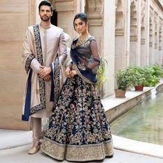 Couple Wedding Dress, Wedding Dresses Men Indian, Indian Bridal Outfits, Indian Bridal Fashion, Indian Bridal Wear, Indian Fashion Dresses, Pakistani Bridal Dresses, Indian Weddings, Wedding Couples
