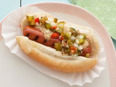 Grilled Link Hot Dogs with Homemade Pickle Relish  Add an extra homemade touch to this all-American summer staple by whipping up a batch of Bobbys homemade pickle relish.