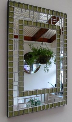 Handmade Mosaic M Mosaic Tile Art, Mirror Mosaic, Mosaic Crafts, Mosaic Projects, Mosaic Glass, Mosaics, Mosaic Ideas, Stained Glass Mirror, Garden Mirrors