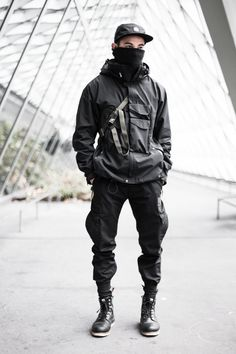 Techwear-influenced (super into the pockets of the jacket) with laceup boots.