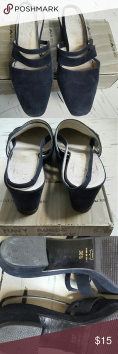 Emporio Armani Suede Slingback Shoes Emporio Armani Suede Slingback Shoes in Navy color. Worn, the color at the front tip of the shoes are faded a little bit (please see photo, but that is the nature of suede). The bottom soles have re-done recently. Made in Italy with original shoe box. Heels Height: 2 inches   Please let me know if you want to make an offer. Thanks for viewing. Shoes Sandals