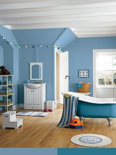 Blue Cruise paint color SW 7606 by Sherwin-Williams. View interior and exterior paint colors and color palettes. Get design inspiration for painting projects. Blue Rooms, Blue Bedroom, Blue Walls, Blue Paint Colors, Interior Paint Colors, Color Blue, Colour, Bathroom Wall Colors, Bathroom Ideas