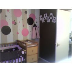 Taylors Nursery, This is the nursery for our new baby girl Taylor she is due August 13th. We wanted a unique space that was also eye-catching. All paint was bought from Lowes and is either a Flat of Semi-Gloss finish. We are re-using the crib/changing table from our first babys nursery and the 2 rocking chairs are family heirlooms. The carpet is new as well it is a Frieze style. The dots on the wall are WallPops and transfer stickers bought from Lowes and eBay., , Nurseries Design