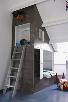 Bunk beds are a great way to add space and fun to a room. Check out these creative bunk beds to inspire you for your next DIY home project. Dream Bedroom, Kids Bedroom, Master Bedrooms, Bedroom Decor, Boy Bedrooms, Bedroom Designs, Master Suite, Bed Nook, Bunk Beds Built In