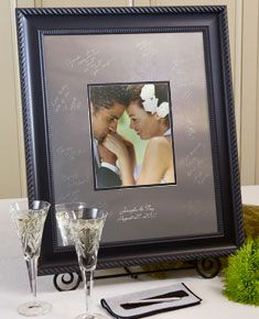 Elegant Style Black Signature Frame. Comes in Three Sizes.  Our Unique Alternative Wedding Guest Book… Signature Frames.  This high quality signature mat is made from a beautiful, highly polished silver-colored alloy.  Signed by guests, with our easy to use non-mechanical Signature Engraving Scribe each signature will last forever. The signatures are designed to be very visible, yet subtle so as not to distract from the photo.  Once signed your Signature Frame becomes a treasured keepsake.