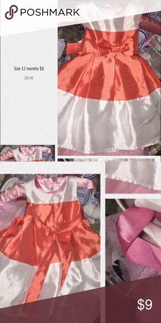 Beautiful infant Girl Dress Orange and White Beautiful Orange And White Infant Girl Dress size 18 months. In Excellent Condition! Dresses Formal