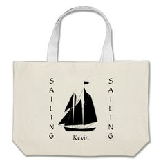Custom Sailboat Sea Silhouette Tote Bag