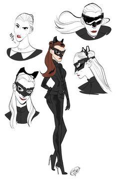 Comic Character, Character Design, Anne Hathaway Catwoman, Harley Y Joker, Memes Arte, Catwoman Selina Kyle, Eartha Kitt, Gotham Girls, Dc Comics Characters