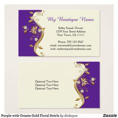 Purple with Ornate Gold Floral Swirls Business Card