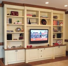 Great entertainment center from www.autu…, Great entertainment center of www. Kitchen Design Gallery, Living Room Built Ins, Home Entertainment Centers, Entertainment Ideas, Custom Entertainment Center, Muebles Living, Wooden Counter, Floating, Built In Shelves