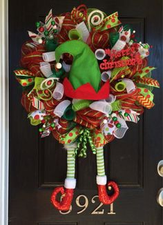 Hey, I found this really awesome Etsy listing at https://www.etsy.com/listing/209443127/elf-wreath-christmas-deco-mesh-wreath