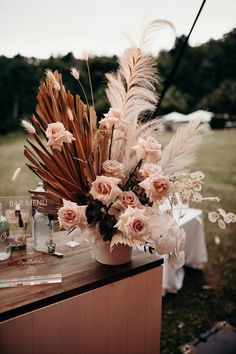 All the details from the epic North QLD wedding of Jess and Chris, now featured in full on Little White List. Dried Flower Arrangements, Wedding Flower Arrangements, Dried Flowers, Wedding Centerpieces, Wedding Bouquets, Wedding Decorations, Purple Bouquets, Tall Centerpiece, Bridesmaid Bouquets
