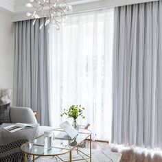 Grey And White Curtains, Grey Blackout Curtains, Grey Curtains, Double Curtains, Curtains With Sheers, Light Blue Curtains, Drapery Rods, Modern Curtains, Curtain Panels