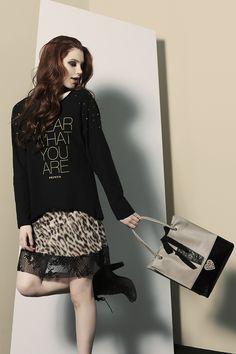 """PEPITA EASYWEAR F/W 2014-15: Maxi maglia con punte laterali. Dettaglio stampa """"""""Wear what you are"""""""" e applicazione borchie sulle spalle. http://shop.pepitastyle.com/brands/easywear/nicole-maxi-maglia.html#.VCF1gOegOOg Sottoveste in chiffon stampato animalier e balza in pizzo nero  #pepita #easywear #fallwinter #fashion #stylish #wearwhatyouare #maximaglia"""