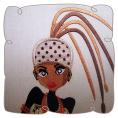 Jelani African Lady 5: Embroidershoppe African Design, Applique Designs, Designing Women, Tweety, Machine Embroidery, Lady, People, Fictional Characters, Fantasy Characters