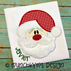 Santa Face Applique by MunchkymsDesign on Etsy, $4.00