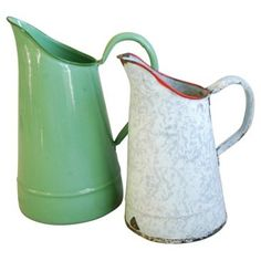 Check out this item at One Kings Lane! French Enamel Water Pitchers, Pair