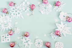 #Christmas paper snowflakes, balls #blue background is greate for blog, #website, banner