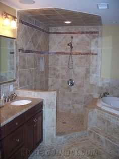 Autumn leaves 2x2 travertine mosaic tiles and noce tumbled for Bathroom ideas in jamaica