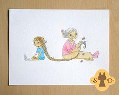 Grandma - original watercolor illustration - grandmother and little girl - braid