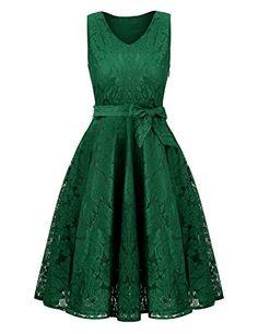 20a06b59ed722 Uniboutique Womens Plus Size Amazon Sexy Summer Tunic Floral Lace V Neck  Sleeveless Skater Midi Dress Green XX-Large Uniboutique Womens Plus Size  Amazon ...