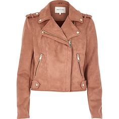 dusty pink faux suede biker jacket by River Island. Faux suede Notch lapels Asymmetric zip front fastening External zip pockets Gold tone hardware Our model wears a UK 8 and is tall Winter Coats Women, Coats For Women, Jackets For Women, Perfecto Rose, Faux Suede Biker Jacket, Moto Jacket, Neoprene, Leather Jacket Outfits, Oui Oui