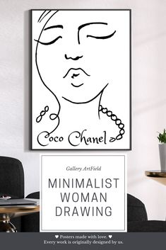 Coco Chanel décor, Coco Chanel poster, Minimal Face Line Art Print, Minimalist Printable Wall Art - ♥ Posters made with love. ♥ The print of the original sketch by Olena Mishina and design by Sve - Chanel Poster, Chanel Print, Above Bed Decor, Abstract Face Art, Chanel Decor, Coco Chanel Quotes, Simple Artwork, Face Lines, Jewelry Illustration