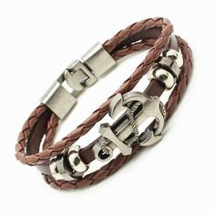 Men's Anchor Bracelet&Bangle Male Multilayer Accessories Black Color Leather Bracelets