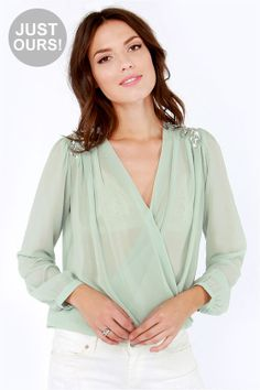 LULUS Exclusive My Beading Heart Sheer Beaded Sage Green Top at LuLus.com!  $41.00