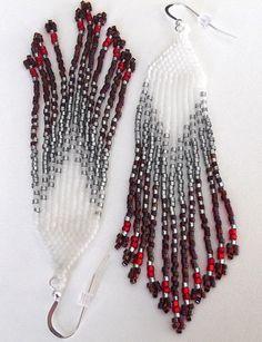 Native American Beaded Earrings Long Fringed Earrings by OlBeads Seed Bead Jewelry, Seed Bead Earrings, Feather Earrings, Beaded Jewelry, Beaded Bracelets, Boho Earrings, Seed Beads, Native American Earrings, Arrows
