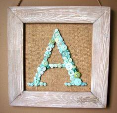 DIY Button Monogram Frame by designer Nicole Nowosad featuring Jillibean Soup Mix the Media Burlap Frame