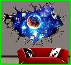 3D Ceiling Wallpaper Sticker DIY Outer Space GalaxySelf Adhesive Waterproof Mural Art Wall Decals For Home Office Kids Room DecorationEasy To Apply Removable Will Not Damage Your Walls OR Windows *** Click image to review more details.