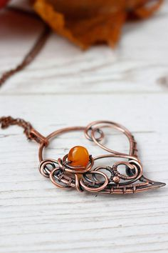 Wire wrapped necklaces for women Copper heart Amber pendant Anniversary gift for her Artisan jewelry Heart locket Delicate weaving http://etsy.me/2nxgOjU #jewelry #necklace #girls #heart #lovefriendship #copper #wire #wirewrapped #wirewrap #wireart #wireweaving #gift