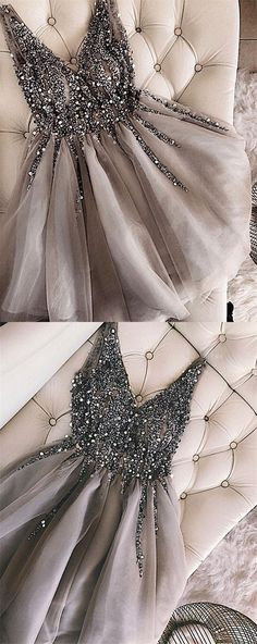 Beaded Homecomimg Dress,Tulle Homecomimg Dress,Short A-Line Prom Dress