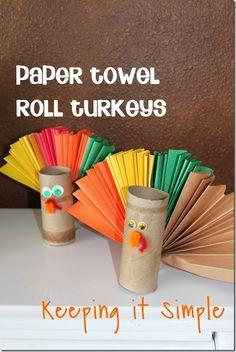 Keeping it Simple: Paper Towel Rolls Turkeys.  Great kids craft!