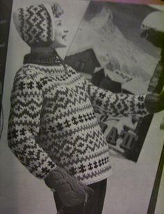 Vintage Knitting Patterns: Fair isle ski sweaters 1960s by vintagemode, via Flickr Knitting Wool, Fair Isle Knitting, Sweater Knitting Patterns, Cardigan Pattern, Vintage Knitting, Knit Patterns, Hand Knitting, Vintage Ski, Vintage Winter