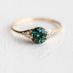 Teal Green Sapphire Lady's Slipper Engagement Ring in Solid 14k Yellow Gold by Melanie Casey Jewelry