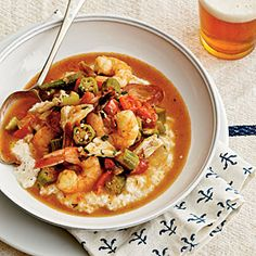 Shrimp-and-Crab Gumbo Over Grits | MyRecipes.com
