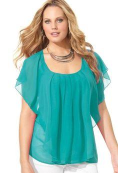 Avenue Cascading Ruffle Blouse: Amazon.com: Clothing