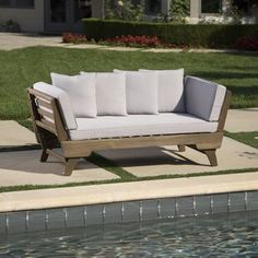 Looking for Ellanti Patio Daybed Cushions Union Rustic ? Check out our picks for the Ellanti Patio Daybed Cushions Union Rustic from the popular stores - all in one. Wood Daybed, Outdoor Daybed, Patio Loveseat, Patio Chairs, Outdoor Furniture, Outdoor Sofas, Rustic Furniture, Antique Furniture, White Furniture