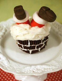 Santa stuck in a chimney cupcake!