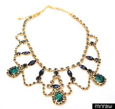 Green and blue crystal necklace