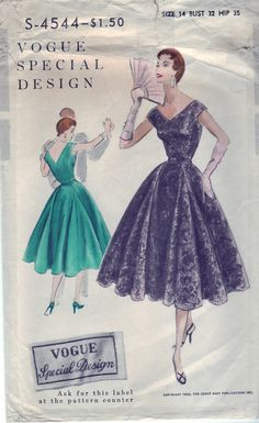 FREE SHIPPING Vintage 1956 Vogue S4544 by SewUniqueClassique, $55.00