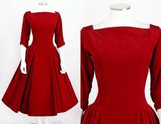VTG 1950s RUBY RED VELVET COCKTAIL PARTY DRESS SZ M