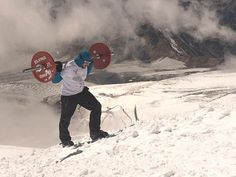 Russian Powerlifter Climbs Mount Elbrus with 75 Kilogram Barbell on His Back - http://www.odditycentral.com/news/russian-powerlifter-climbs-mount-elbrus-with-75-kilogram-barbell-on-his-back.html