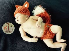 Newborn PHOTO Prop  FOX Hat and Diaper Cover Baby  by pixieharmony