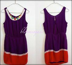 40% SALE-VINTAGE inspired handmade mini chiffon dress with rainbow necklace $39.80 bloominjane.etsy.com