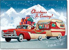 Here comes Santa Claus! Santas Vintage Camper Christmas Cards show a classic car pulling a vintage camper loaded with gifts, a cute reindeer takes a back seat for the ride.  8 cards & envelopes $12.00 | Folded Card Size 4.5″x 6.25″